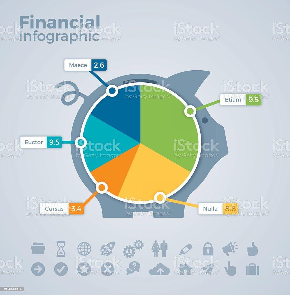 Financial Piggy Bank Infographic vector art illustration