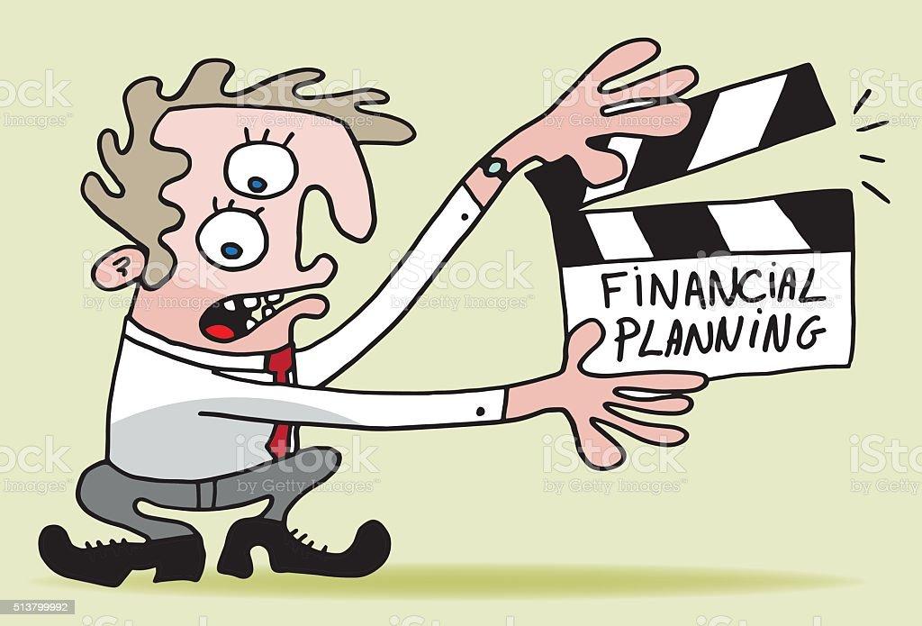 Financial planning movie clapper vector art illustration