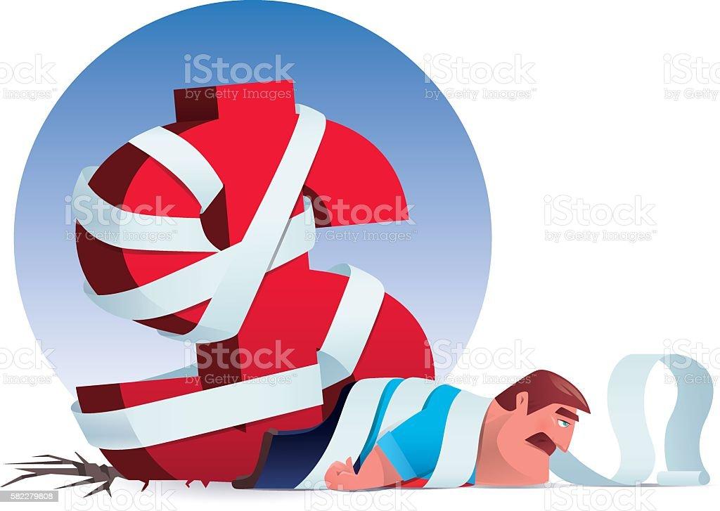 financial problems vector art illustration