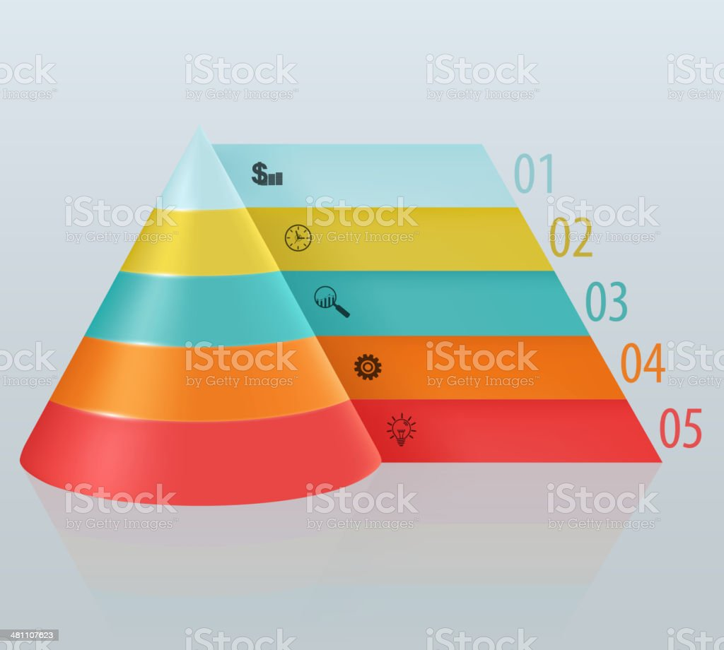 Financial pyramid with numbered tabbed vector art illustration