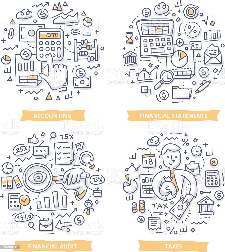 Financial Report & Accounting Doodle Illustrations vector art illustration