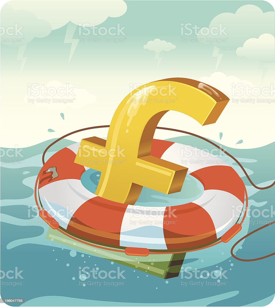 Financial Rescue - Pound sign royalty-free stock vector art