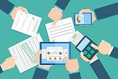 Financial research report.  Financial examiner. Vector illustrat