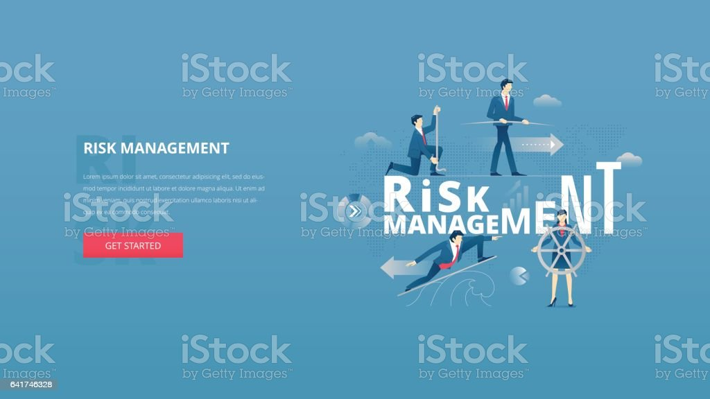 Financial risk management hero banner vector art illustration
