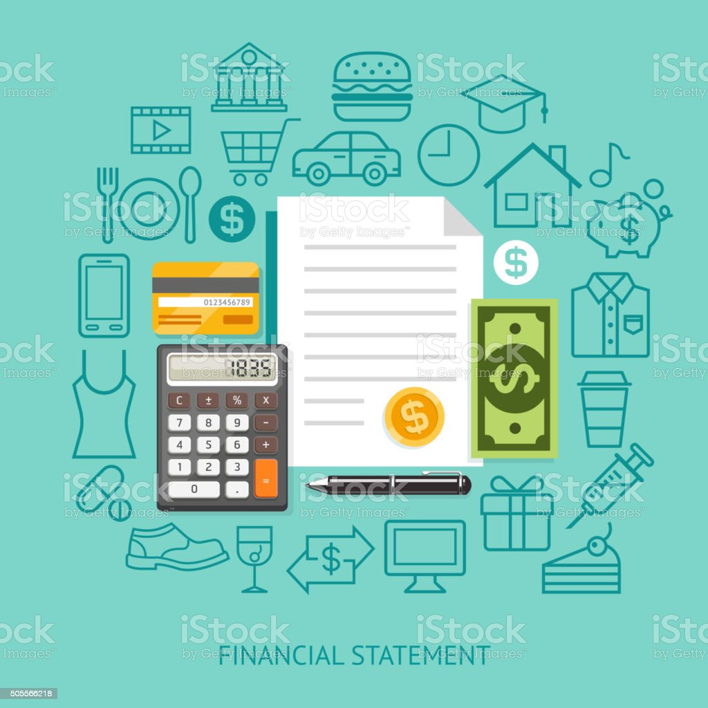 Financial Statement Conceptual Flat Style. vector art illustration