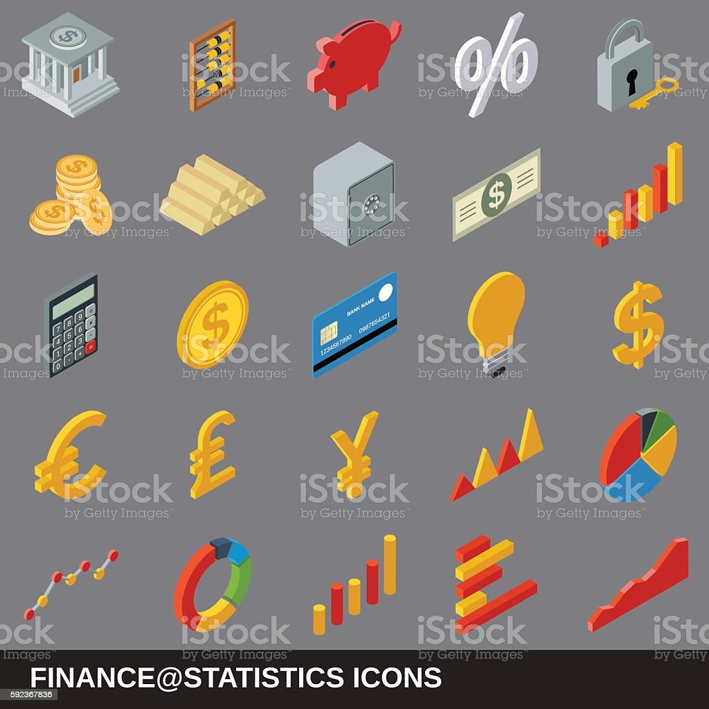 Financial statistics icons collection vector art illustration