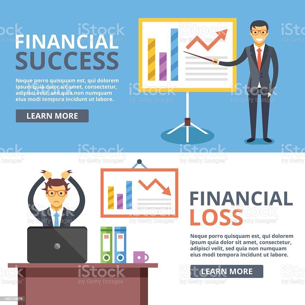 Financial success, financial loss flat illustration concepts set. Business situations vector art illustration