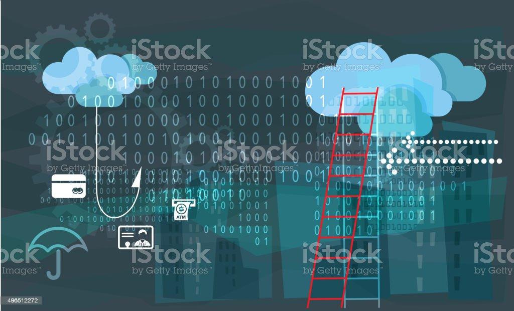 Financial System Fraud - Phishing vector art illustration