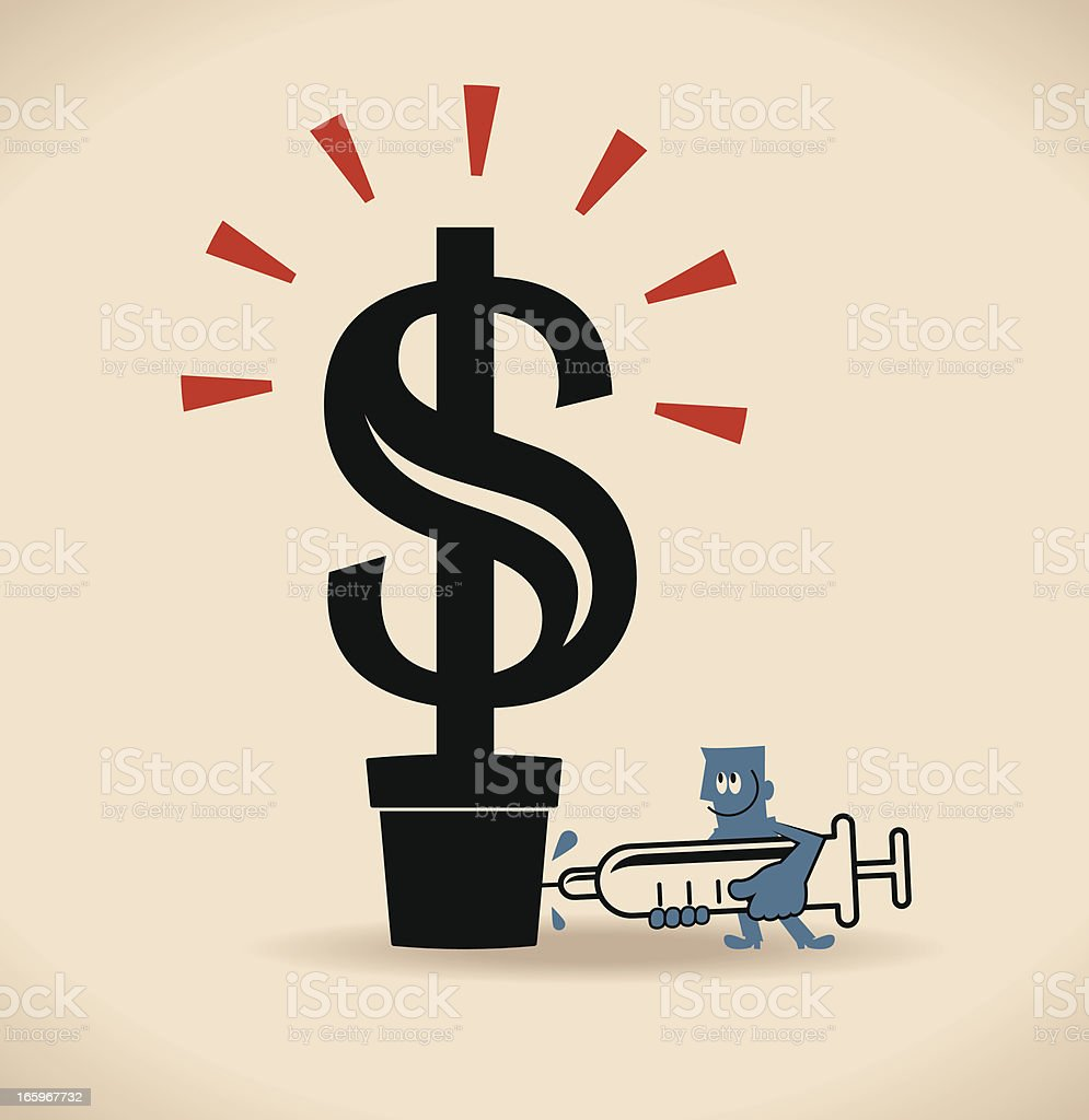 Financial (Money) tree injection royalty-free stock vector art