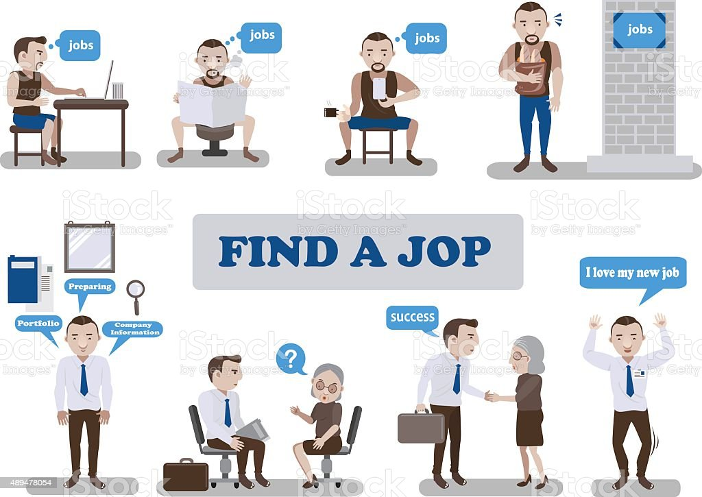 find a Job vector art illustration
