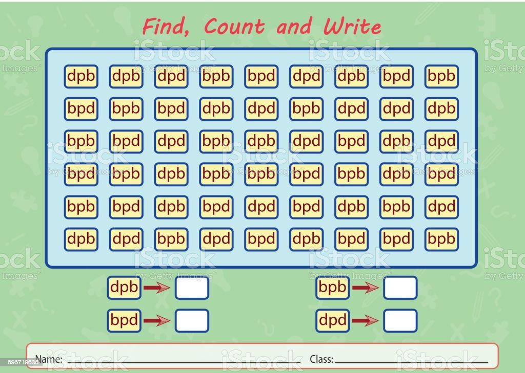 find, count and write, worksheet for kids vector art illustration