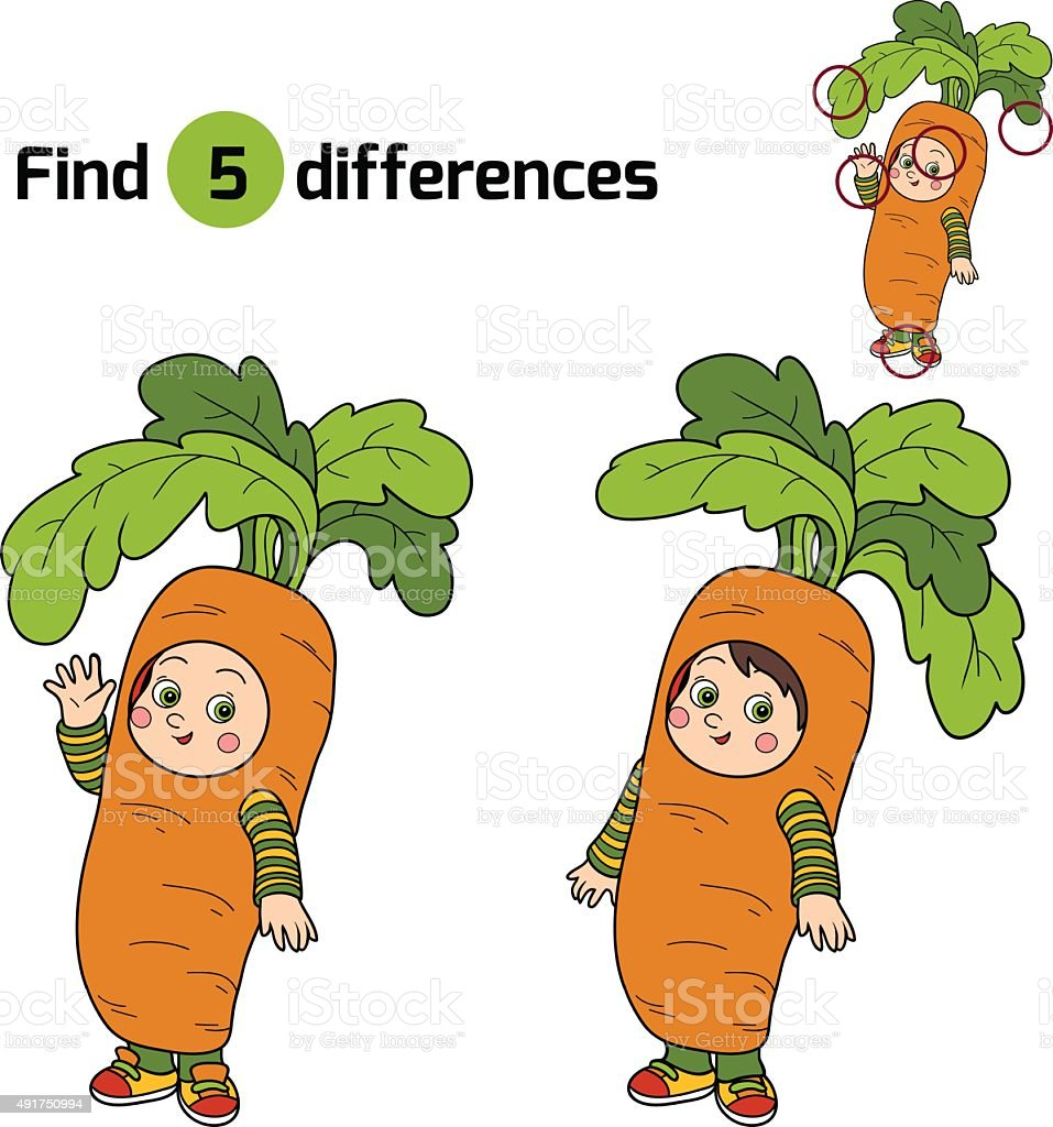 Find differences for children: Halloween characters (carrot) vector art illustration