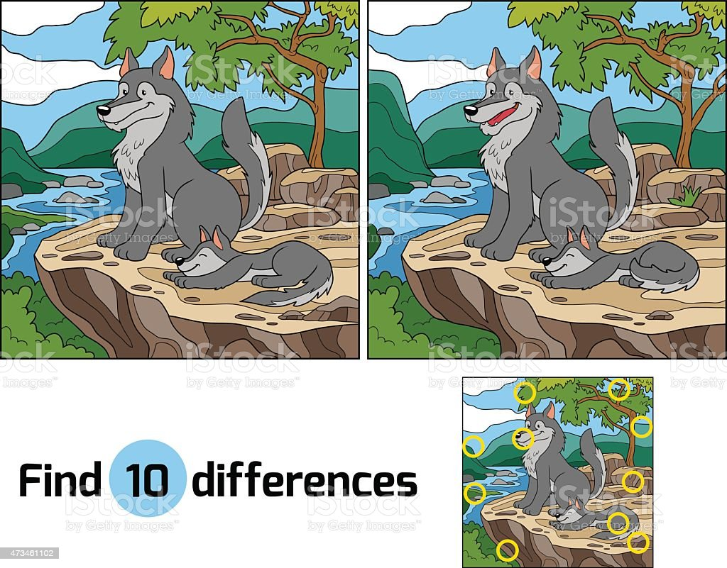 Find differences (wolf and background) vector art illustration
