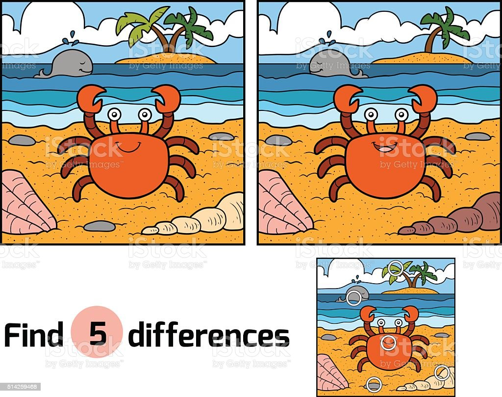 Find differences (crab and background) vector art illustration