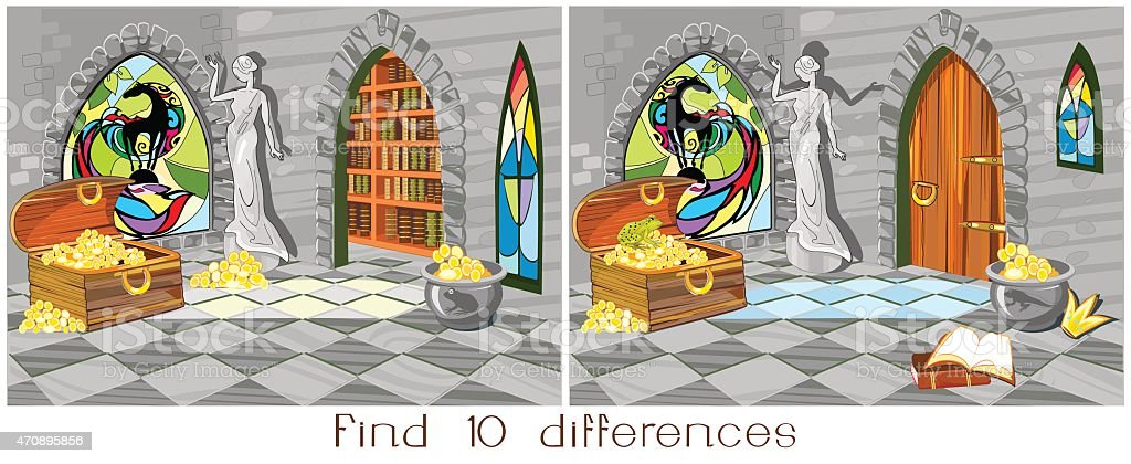 Find ten differences vector art illustration