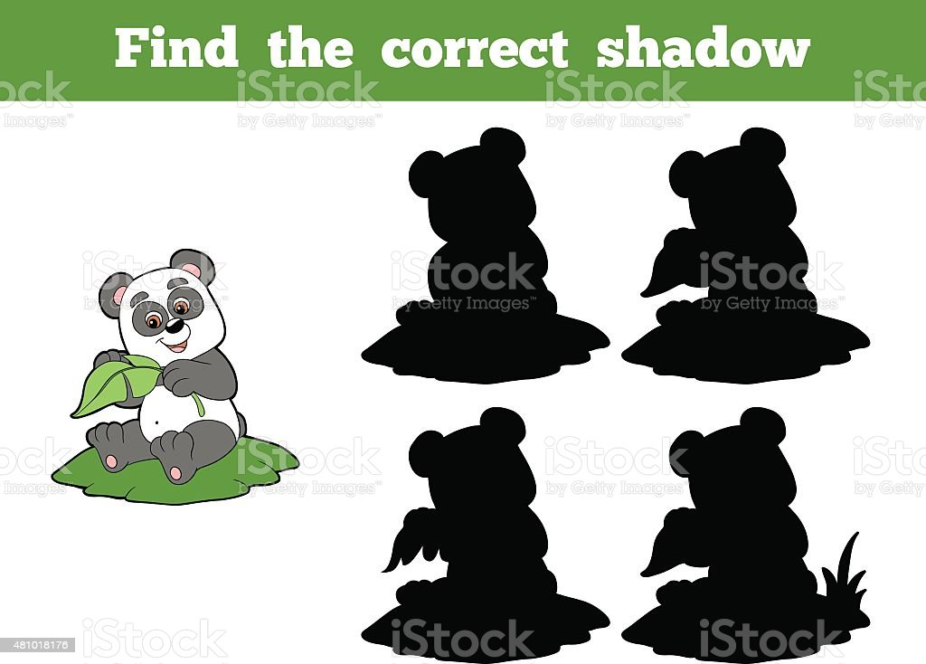 Find the correct shadow (panda and leaf) vector art illustration
