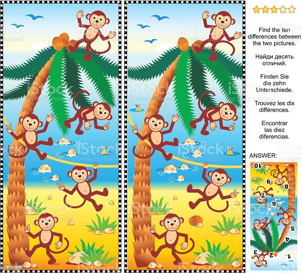 Find the differences picture puzzle - monkeys, beach, coconut palm vector art illustration