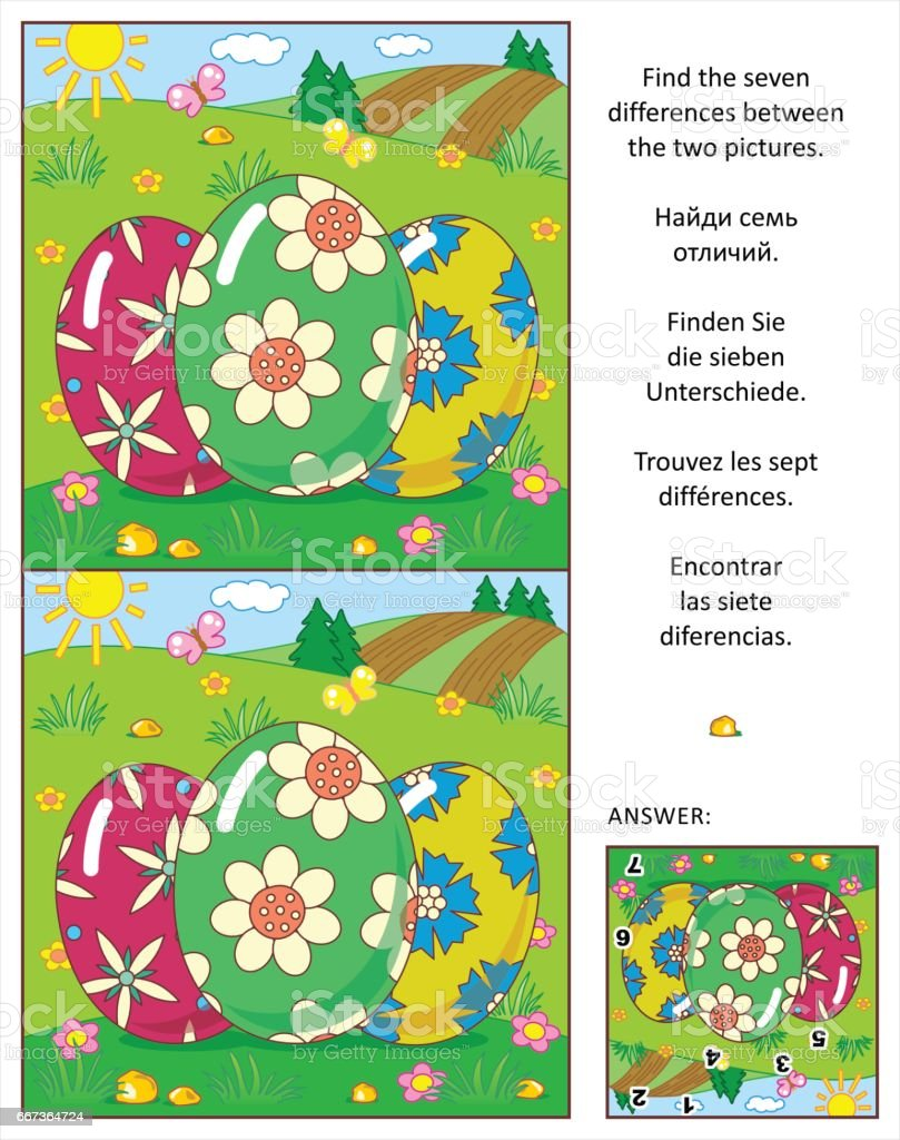 Find the differences picture puzzle with three Easter eggs vector art illustration