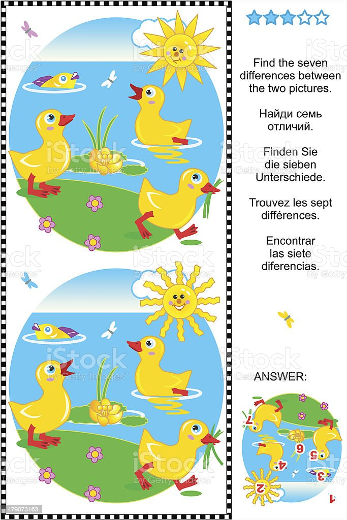 Find the differences visual puzzle - ducklings vector art illustration