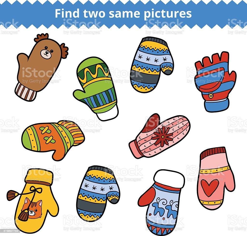 Find two same pictures, set of knitted mittens vector art illustration