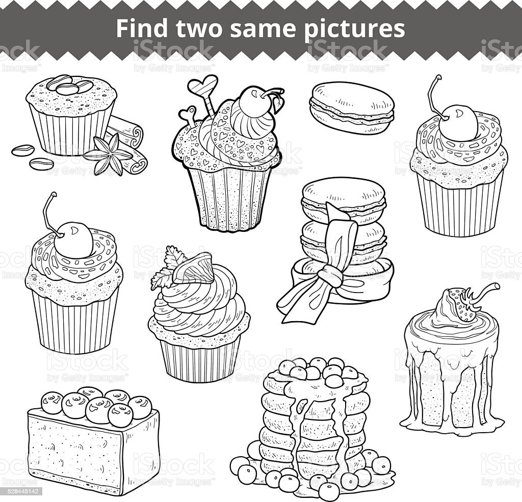 Find two same pictures. Vector set of cakes and cupcak vector art illustration