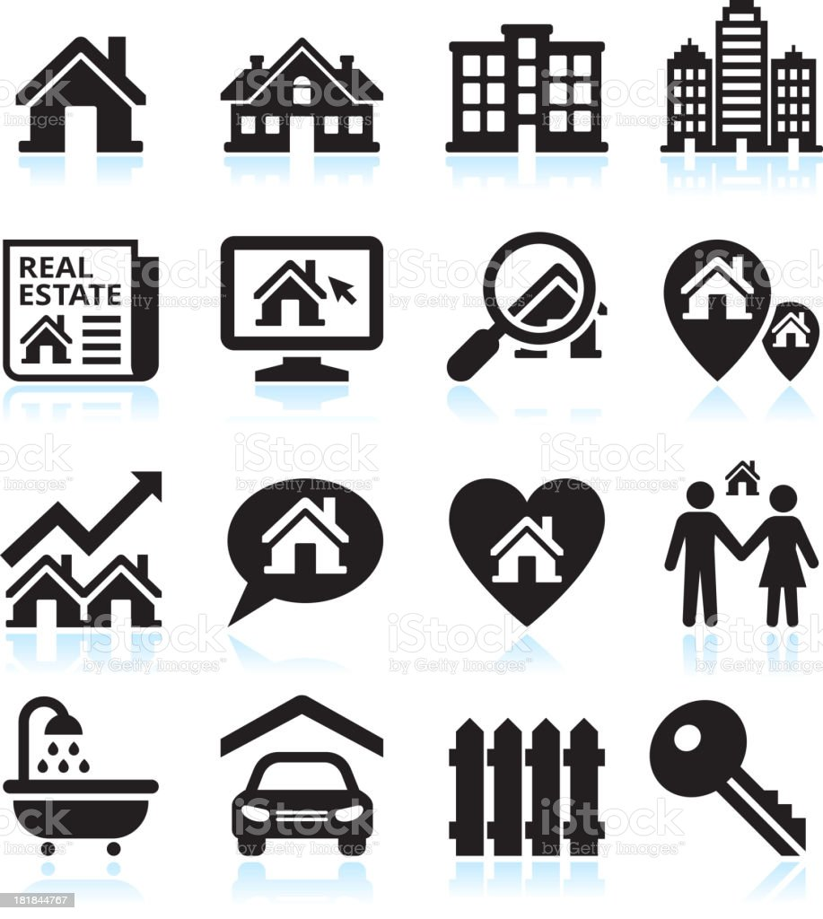 Finding a house black & white vector icon set vector art illustration