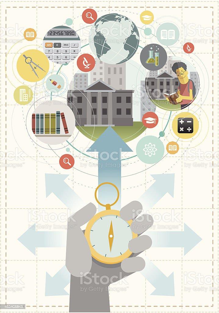 Finding best institute. vector art illustration