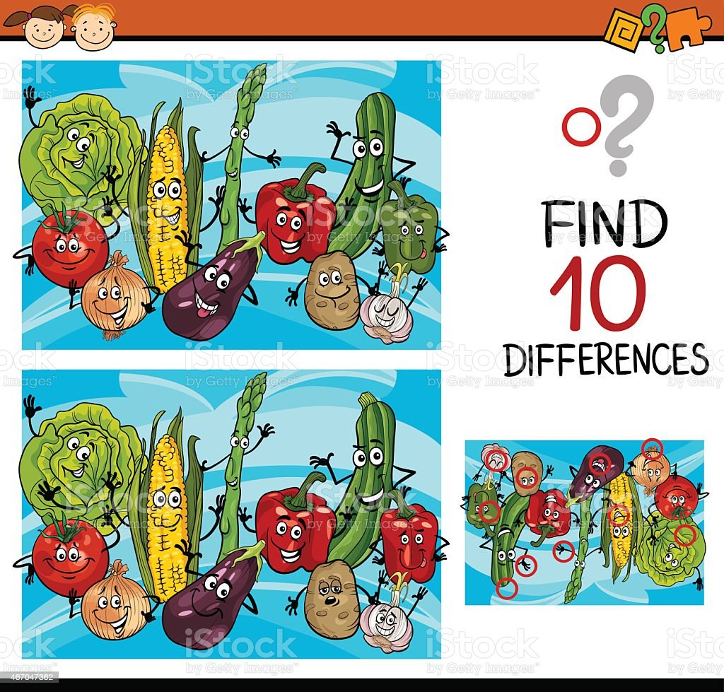 finding differences game cartoon vector art illustration
