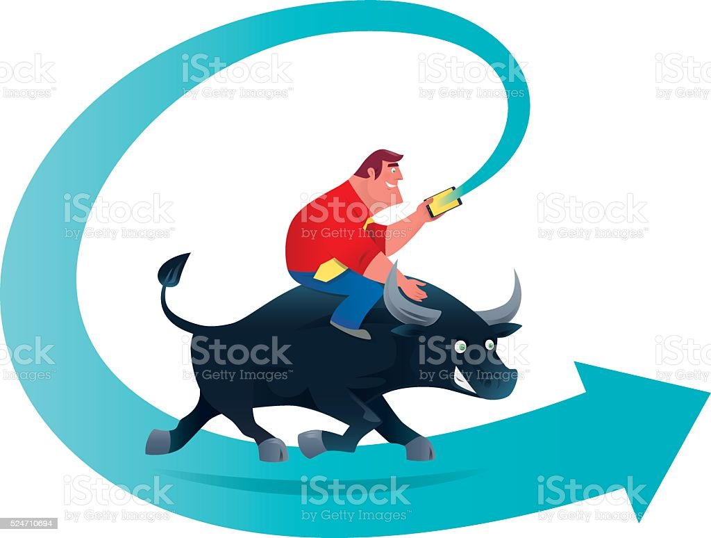 finding direction with bull vector art illustration
