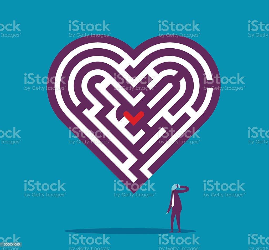 Finding the love vector art illustration