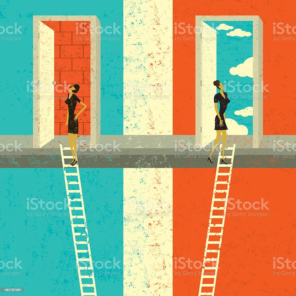 Finding the right opportunity vector art illustration