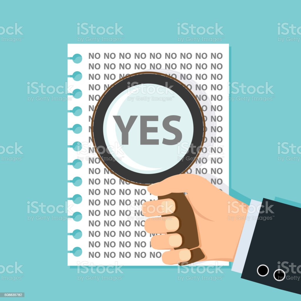 Finds the word yes vector art illustration