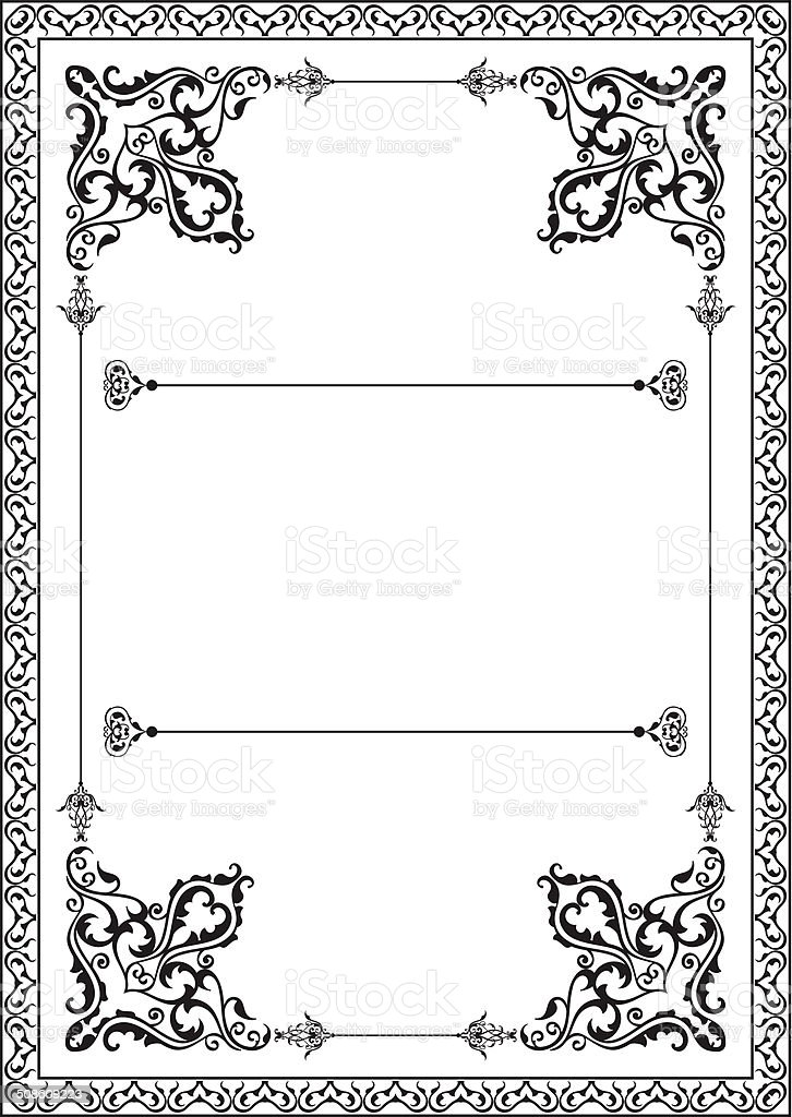 Fine art border vector art illustration