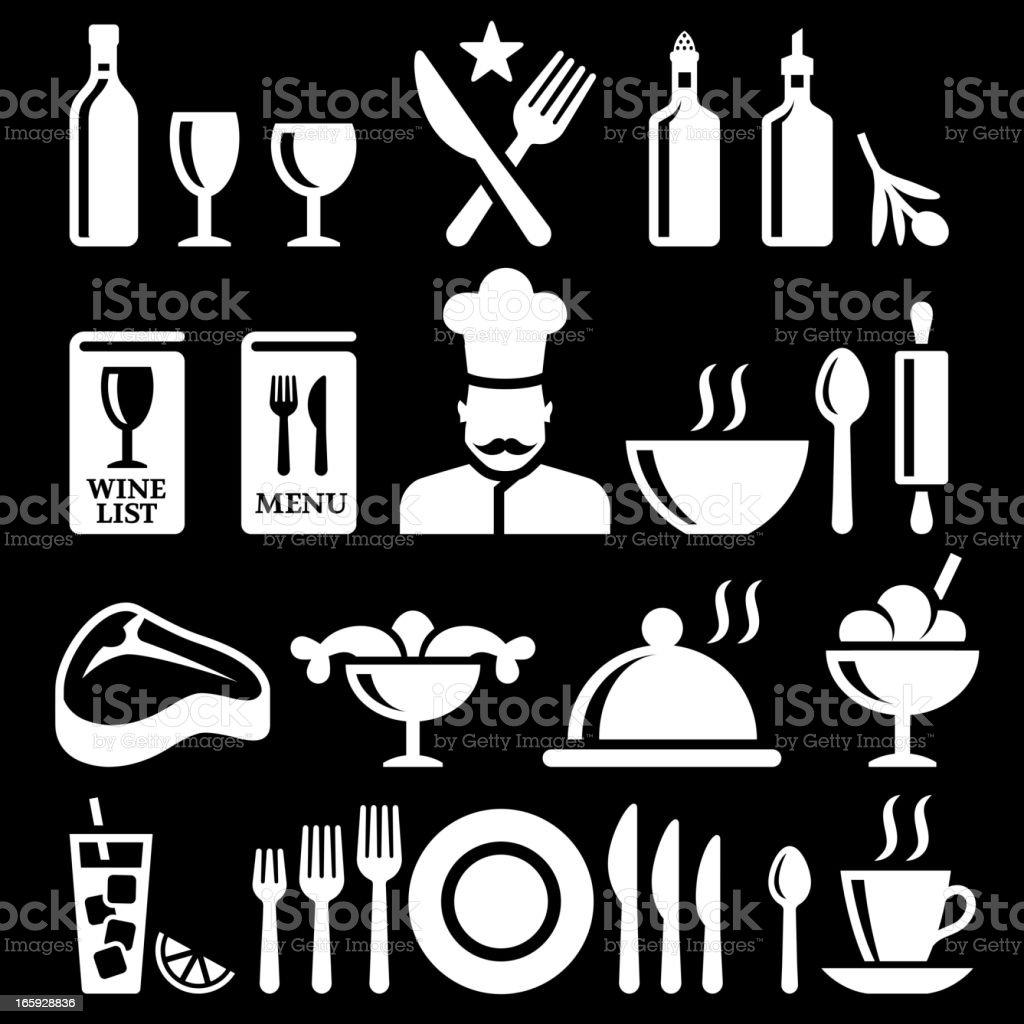 Fine dining and Restaurant knockout royalty free vector icon set vector art illustration