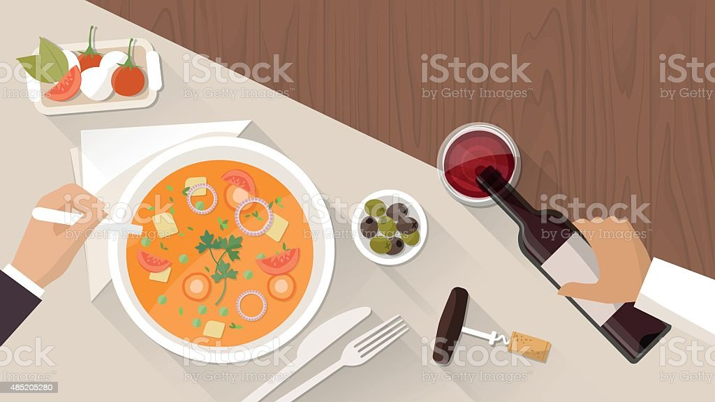 Fine dining at restaurant vector art illustration