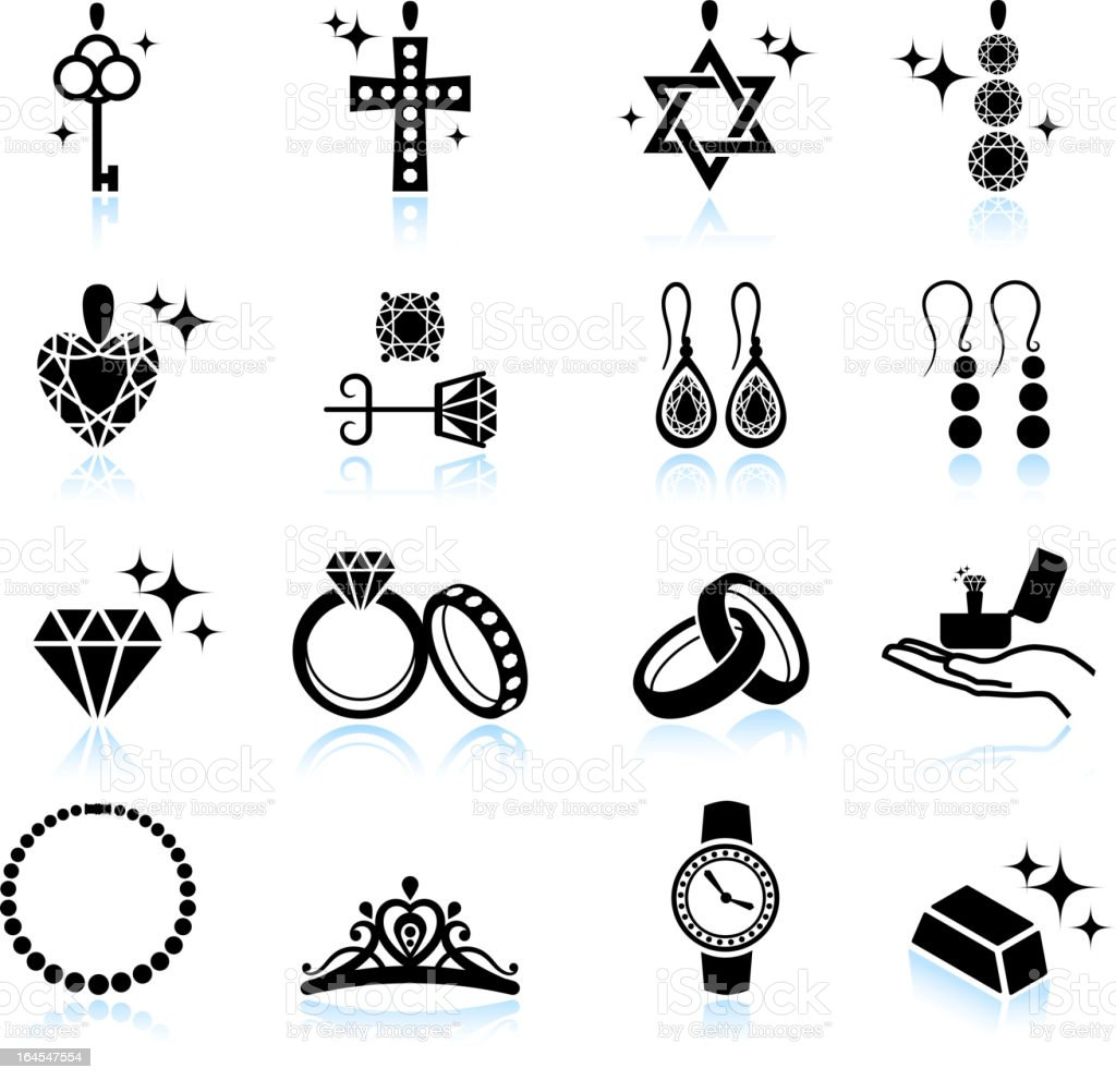 Jewelry collection black and white icon set vector art illustration