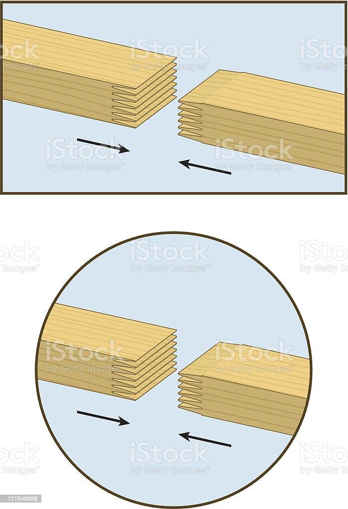 Finger Jointed 2x4 Lumber vector art illustration