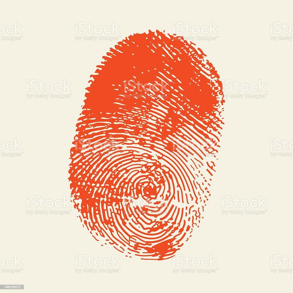 Finger print . Red color. vector art illustration