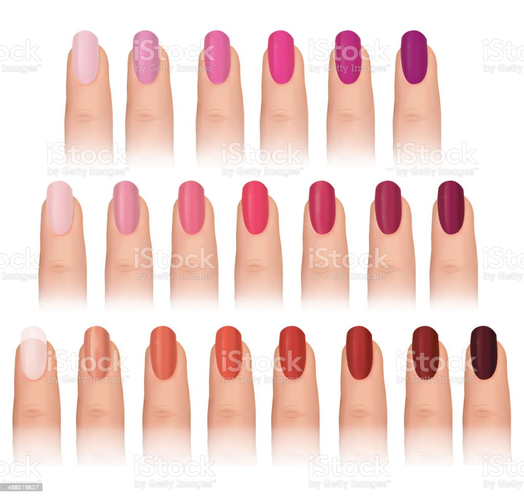 Fingernail colour set. vector art illustration