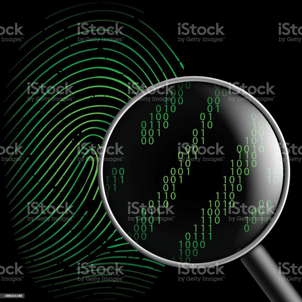 fingerprint and magnifying glass vector art illustration
