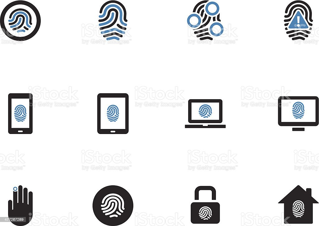 Fingerprint duotone icons on white background. royalty-free stock vector art