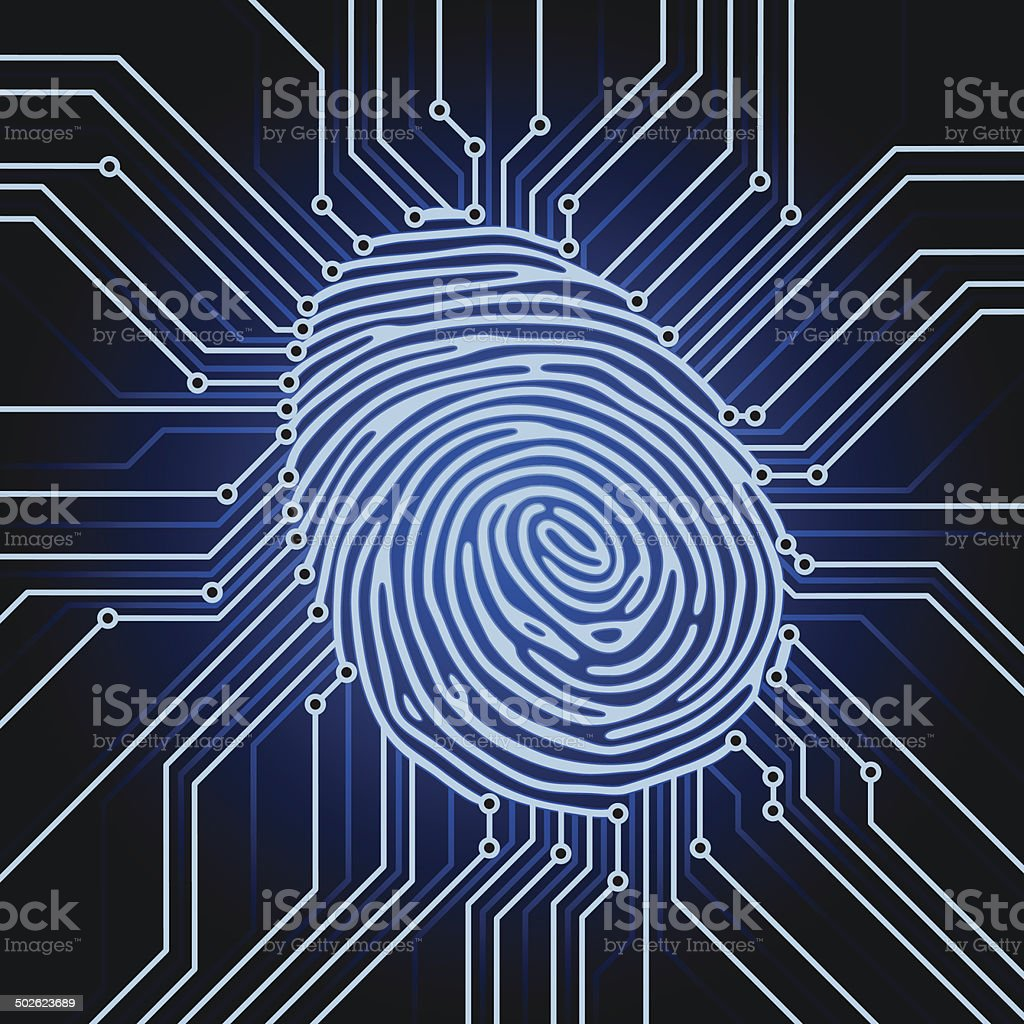 fingerprint electronics vector art illustration
