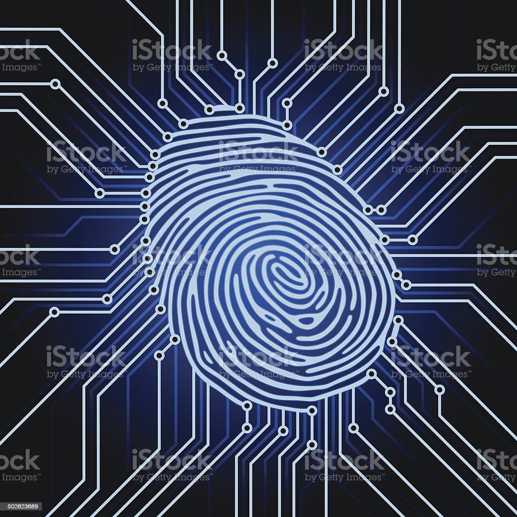 fingerprint electronics vector art illustration