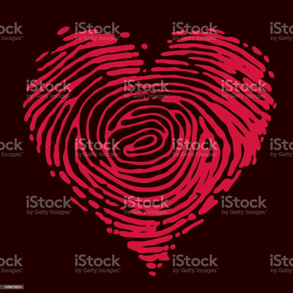 Fingerprint heart royalty-free stock vector art