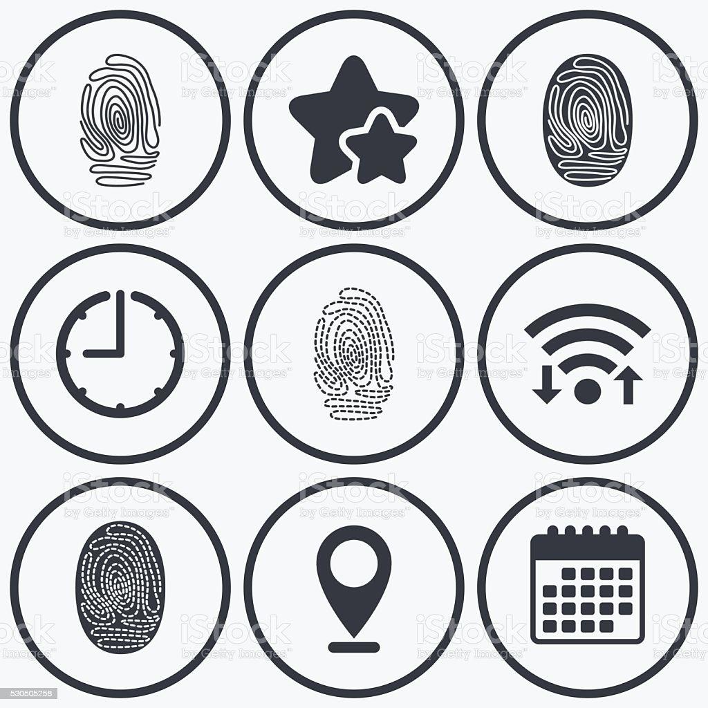 Fingerprint icons. Identification signs. vector art illustration