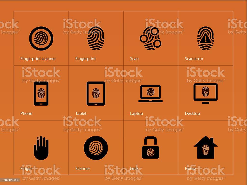 Fingerprint icons on orange background. royalty-free stock vector art