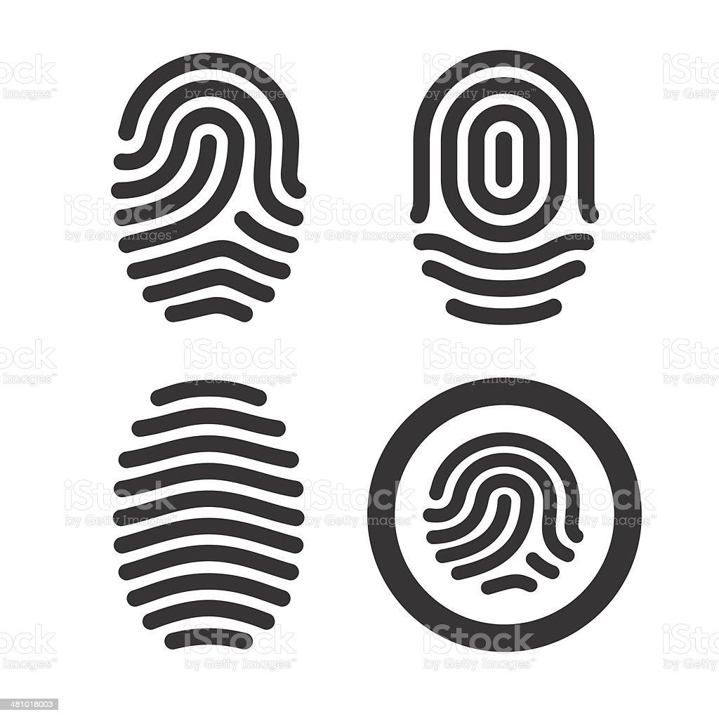 Fingerprint icons set. vector art illustration