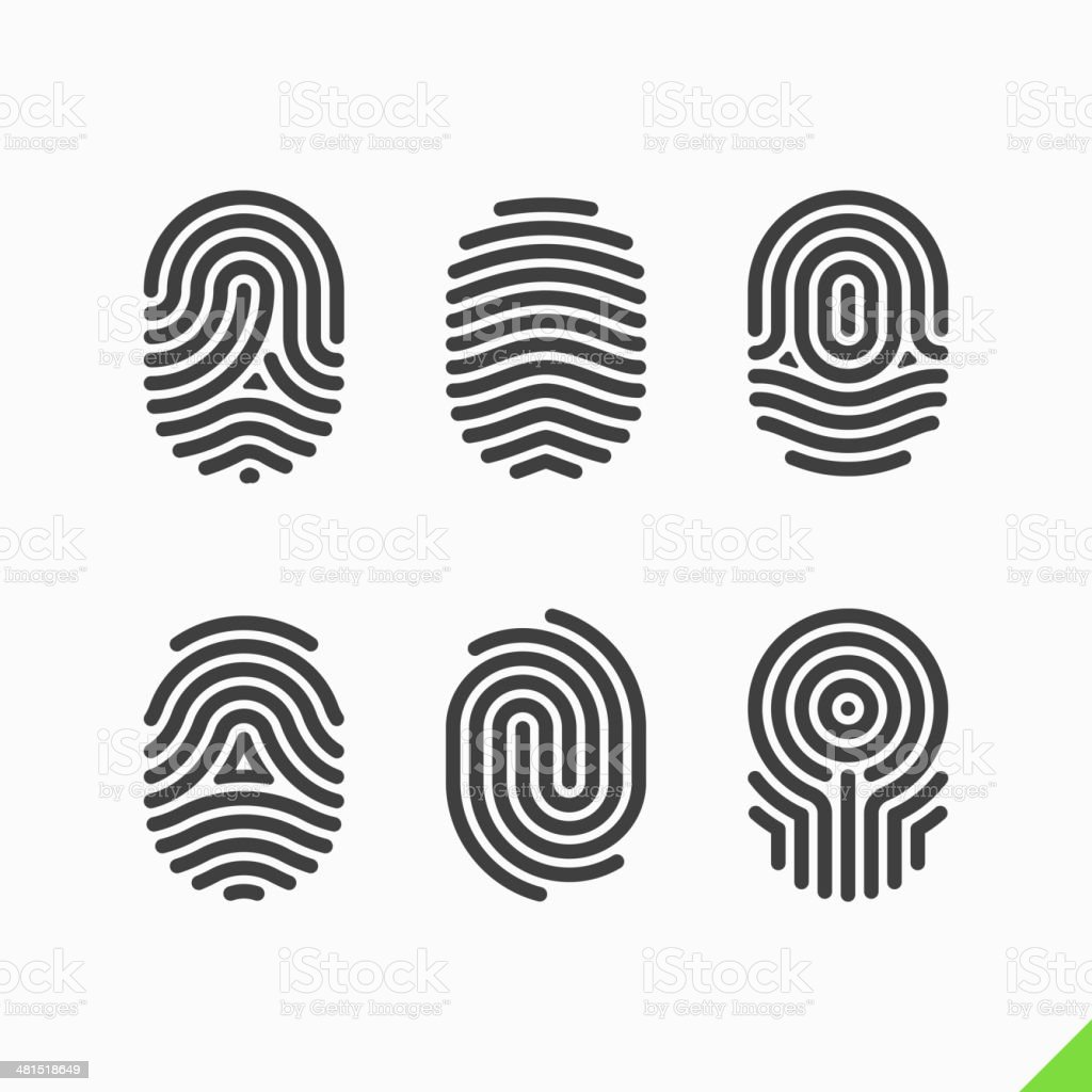 Fingerprint icons set vector art illustration