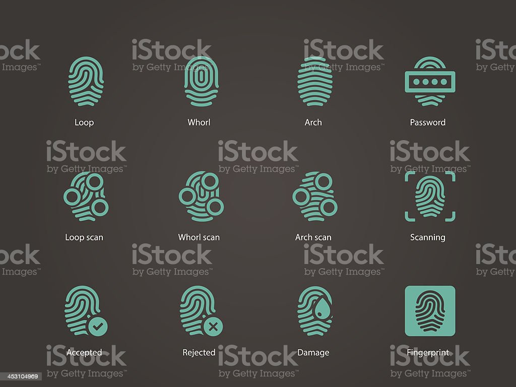 Fingerprint icons. royalty-free stock vector art