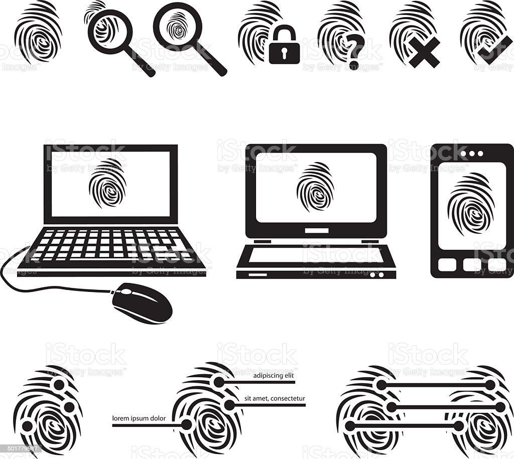 fingerprint icons vector art illustration